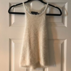Kendall and Kylie fluffy white tank